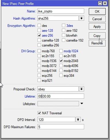 Mikrotik konfigurowanie IPsec Peer Profile