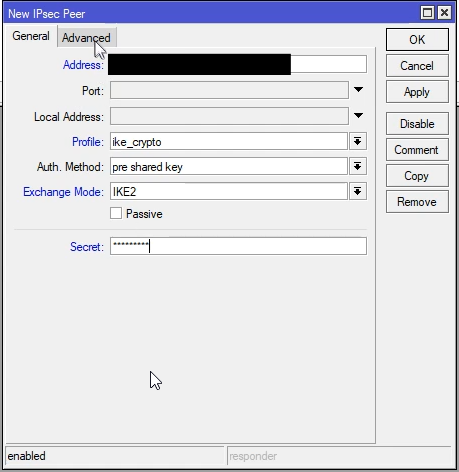 Mikrotik konfigurowanie IPsec Peer
