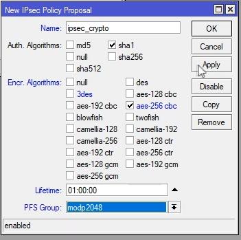 Mikrotik konfigurowanie IPsec Policy Proposal