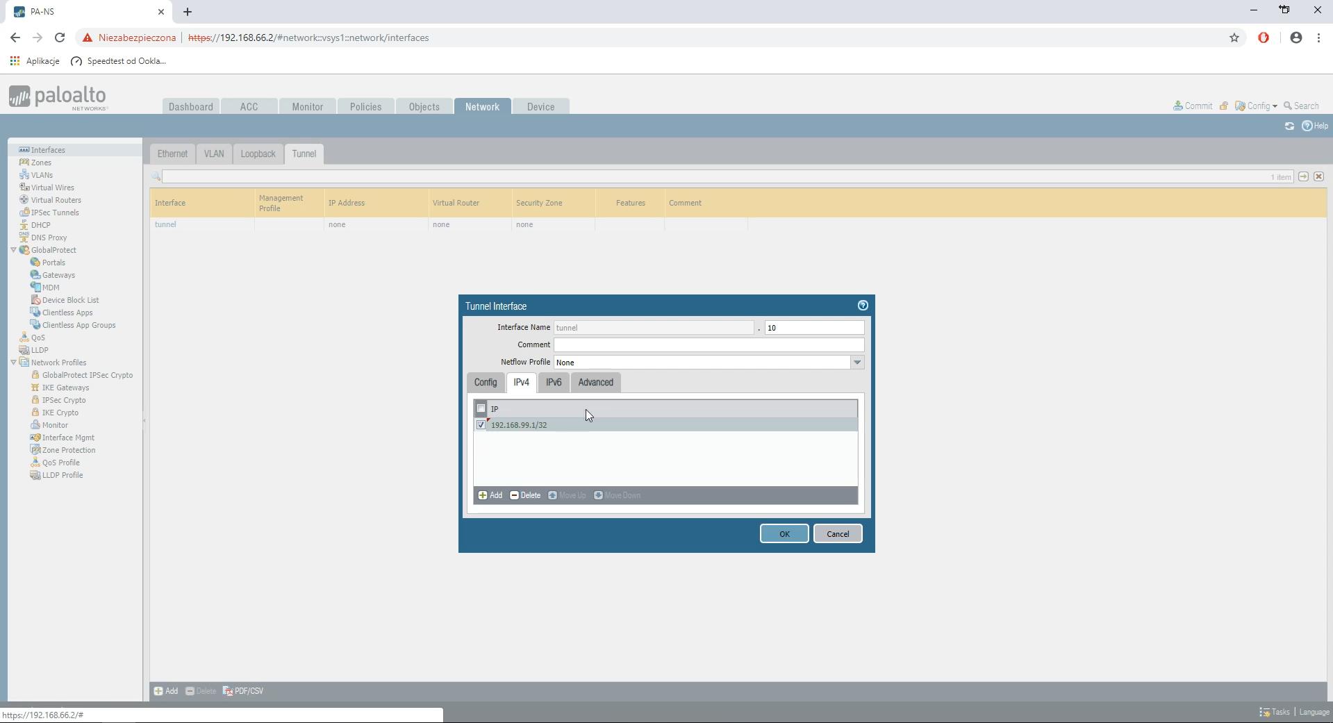 Palo Alto Networks przypisanie adresu IP do interfejsu