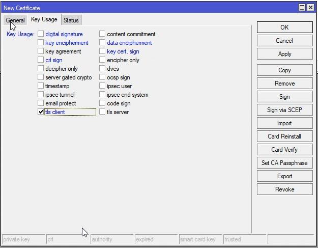 Mikrotik generowanie certyfikatu klienta