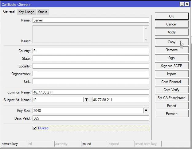Mikrotik generowanie certyfikatu serwera