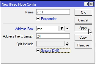 Mikrotik konfigurowanie IPsec mode config