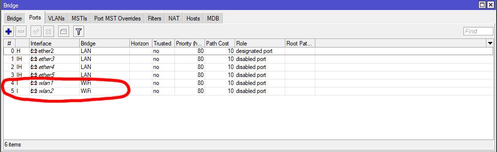 Mikrotik lista interfejsów w Bridge WiFi