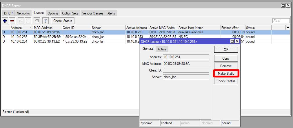 Mikrotik dodanie statycznego wpisu w DHCP
