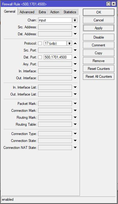 mikrotik vpn serwer l2tp firewall input rule