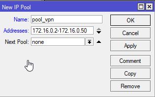 mikrotik vpn serwer l2tp ip pool