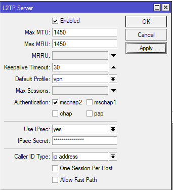 mikrotik vpn serwer l2tp ppp interface