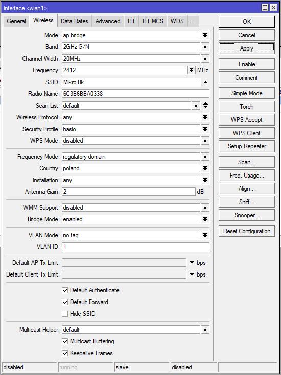 Mikrotik konfiguracja karty bezprzewodowej 2,4GHz