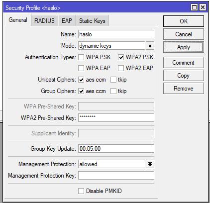 Mikrotik konfiguracja hasła do sieci WiFi