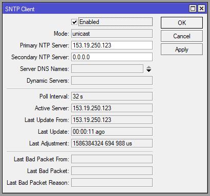 Mikrotik uruchomienie SNTP Client
