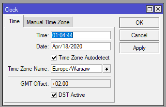 Mikrotik ustawienie data i godziny systemowej