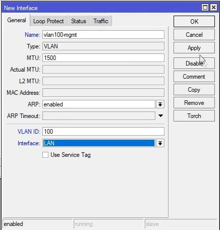 Mikrotik dodanie nowego interfejsu VLAN
