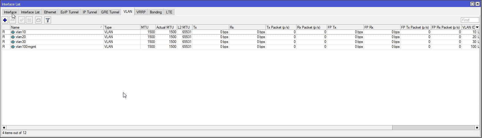 Mikrotik lista interfejsów vlan