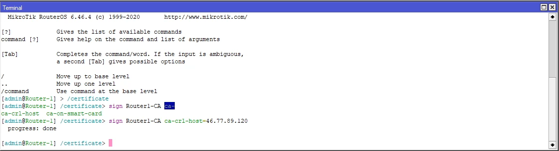 mikrotik ipsec cert new ca certificate