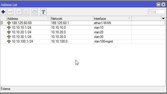 Mikrotik Lista skonfigurowanych adresów IP