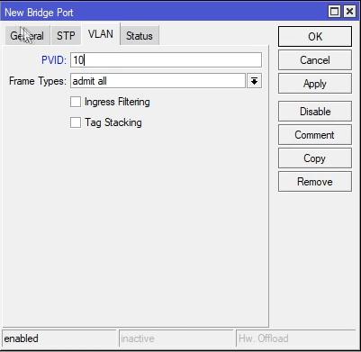 Mikrotik konfiguracja VLAN w Bridge PVID