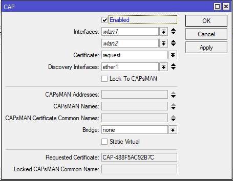 Mikrotik Capsman CAP interfaces