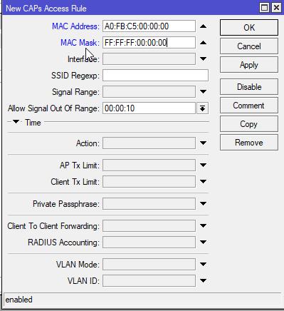 Mikrotik Capsman Access List