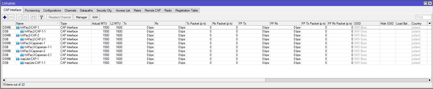 Mikrotik Capsman Interfaces List