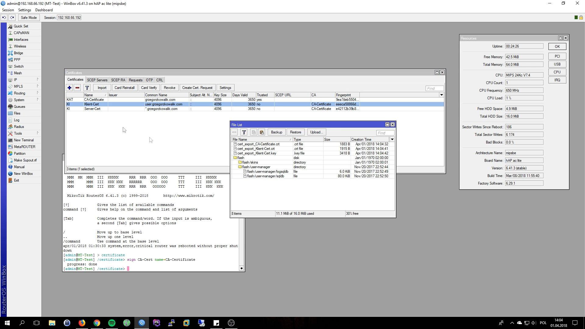 Mikrotik OpenVPN Server Export Certs