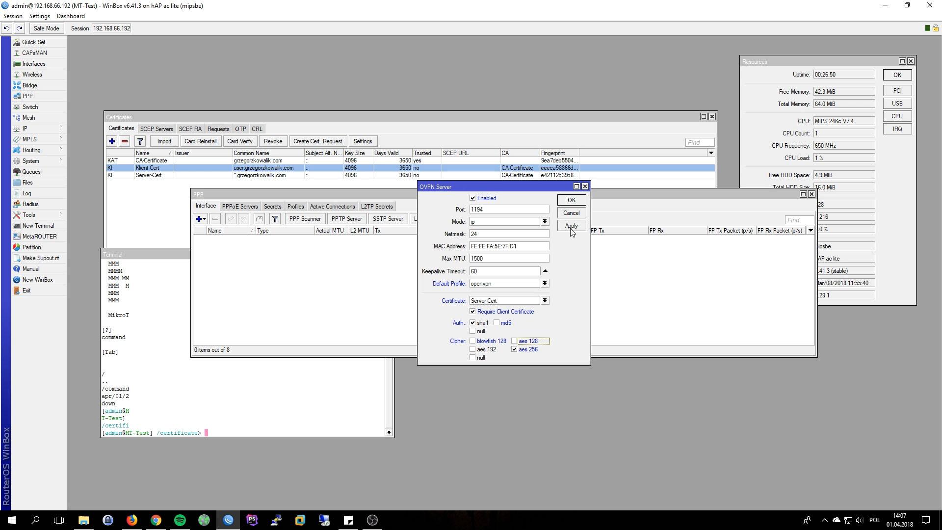 Mikrotik OpenVPN Server Interface PPP