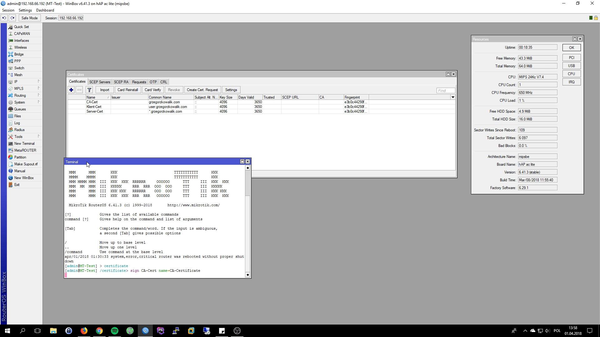 Mikrotik OpenVPN Server Sign Certificate
