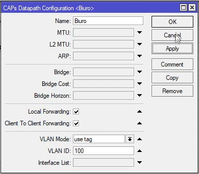 Mikrotik Capsman Local Forwarding VLAN